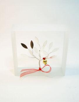 Handmade sterling silver pomegranate tree in plexiglass frame.
