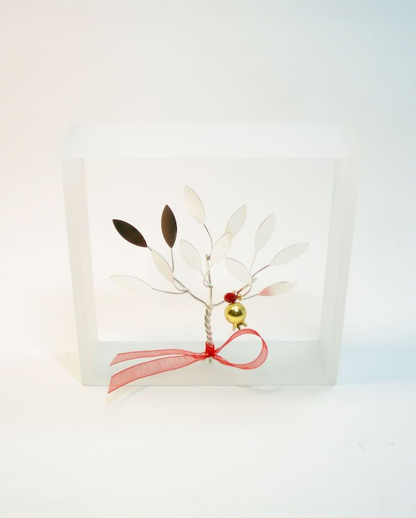 Handmade sterling silver pomegranate tree in plexiglass frame.