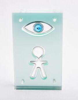 Handmade sterling silver baby lucky charm in bright green plexiglass