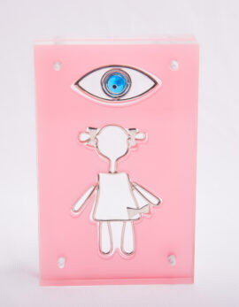 Handmade sterling silver baby lucky charm in pink plexiglass.
