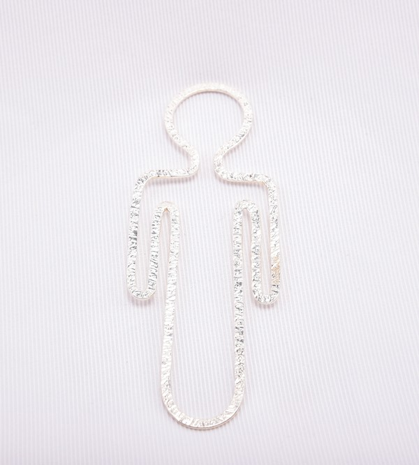 Handmade sterling silver boy's bookmark.