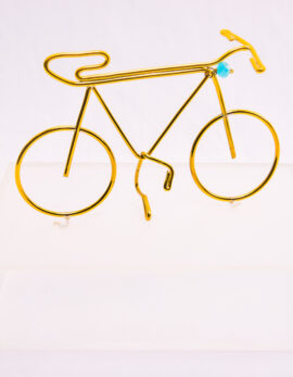 Handmade bronze Bicycle in plexiglass box.