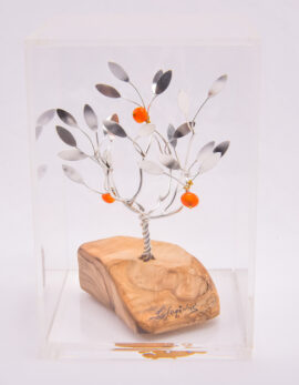Handmade sterling silver gift pomegranate tree in plexiglass box