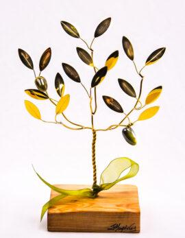Handmade bronze gift olive tree in wood