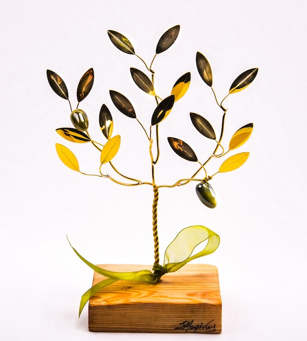 Handmade bronze gift olive tree in wood