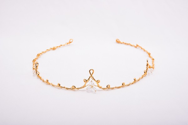 Handmade gold plated sterling silver tiara brides