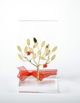Handmade gift bronze business card case with pomegranate tree in plexiglass.