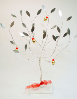 Handmade sterling silver pomegranate tree in plexiglass.