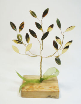 Handmade bronze olivetree in wood