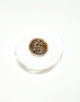 Paper weight gift in plexiglass with sterling silver coin handmade