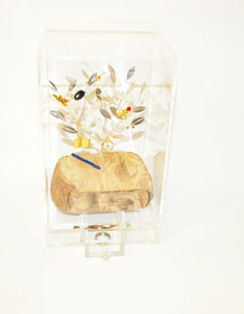 Sterling silver handmade family olivetree in plexiglass