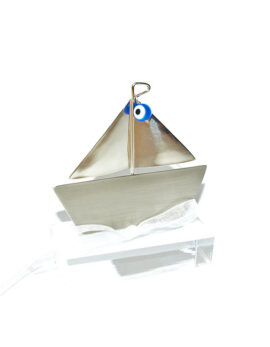 Handmade nickel silver boat paperweight good luck business gift