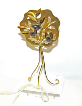 Handmade brass olive family tree in plexiglass
