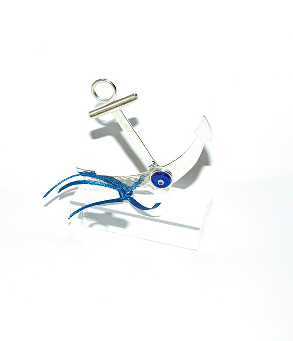 Handmade silver plated anchor paper weight good luck business gift on plexiglass