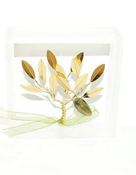 Brass handmade family olive tree in plexiglass frame