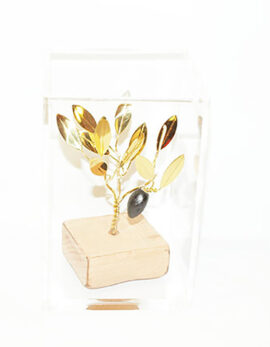 Brass handmade family olive tree in plexiglass