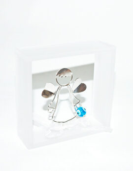 Handmade sterling silver 925 guardian angel in plexiglass wall frame .Christening or first birthday baby gift