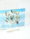 Handmade brass gift business card holder with olivetree in plexiglass